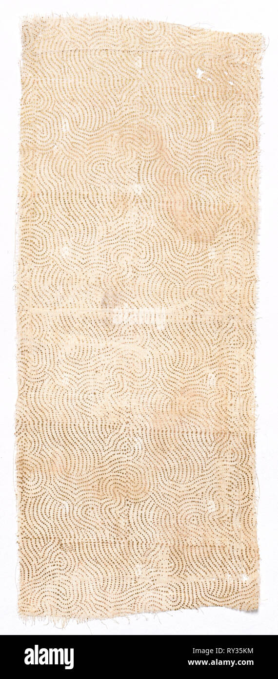 Fragment of Draped Garment worn by Members of the Court for Festive Occasions, 1700s. India, Rajasthan or Northern Deccan, 18th century. Block printed with gold leaf on cotton muslin; overall: 30.5 x 12.2 cm (12 x 4 13/16 in - Stock Image