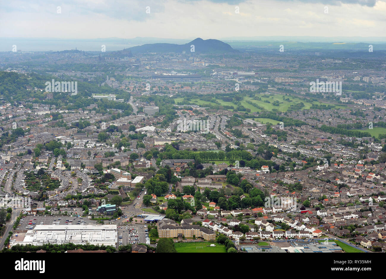 Aerial view of the Corstorphine area and west of Edinburgh. - Stock Image