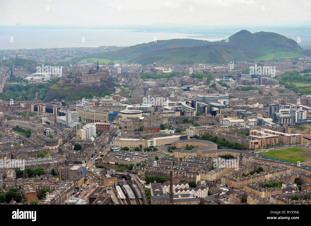 Aerial view of the west end of Edinburgh city centre. - Stock Image