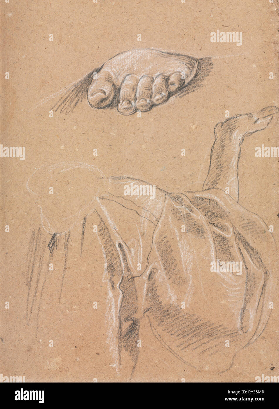 Verona Sketchbook: Study of a left foot and drapery study with right arm (page 79), 1760. Francesco Lorenzi (Italian, 1723-1787). Black chalk with white heightening ; sheet: 32 x 23 cm (12 5/8 x 9 1/16 in - Stock Image