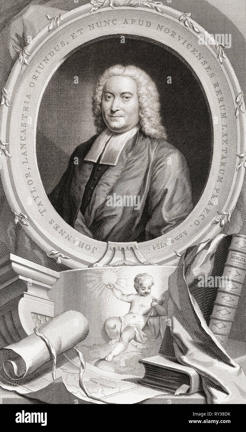 John Taylor, 1694-1761.  Unitarian minister at Norwich, Hebrew scholar, theologian.  From the 1813 edition of The Heads of Illustrious Persons of Great Britain, Engraved by Mr. Houbraken and Mr. Vertue With Their Lives and Characters. - Stock Image