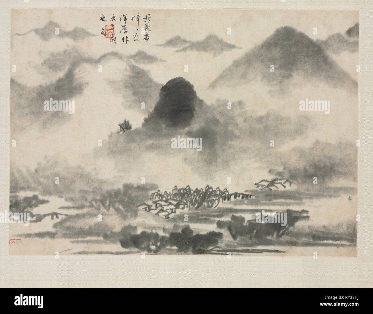 Landscape Album in Various Styles: Landscape after Mi Fei, 1684. Zha Shibiao (Chinese, 1615-1698). Album leaf, ink and light color on paper; overall: 29.9 x 39.4 cm (11 3/4 x 15 1/2 in Stock Photo