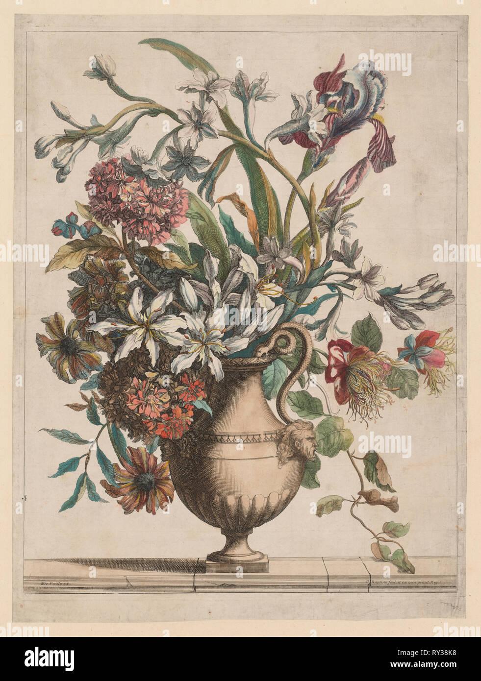 Liure de Toutes Sortes de fleurs d'après nature:  Vase of Flowers. Jean-Baptiste I Monnoyer (French, c. 1636-1699). Etching and engraving, hand colored - Stock Image