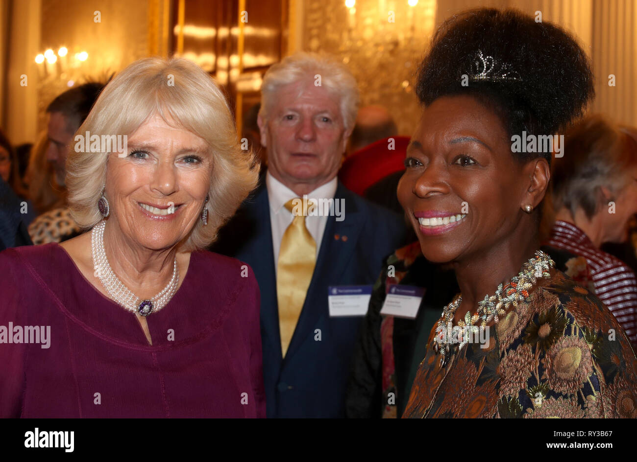 The Duchess of Cornwall and Floella Benjamin at the annual Commonwealth Day reception at Marlborough House, the home of the Commonwealth Secretariat in London. Stock Photo