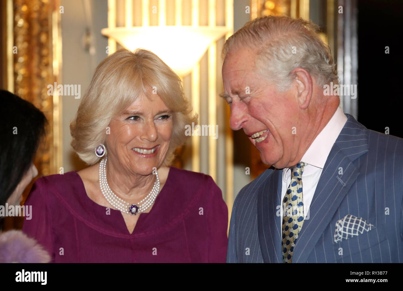The Prince of Wales and the Duchess of Cornwall at the annual Commonwealth Day reception at Marlborough House, the home of the Commonwealth Secretariat in London. Stock Photo