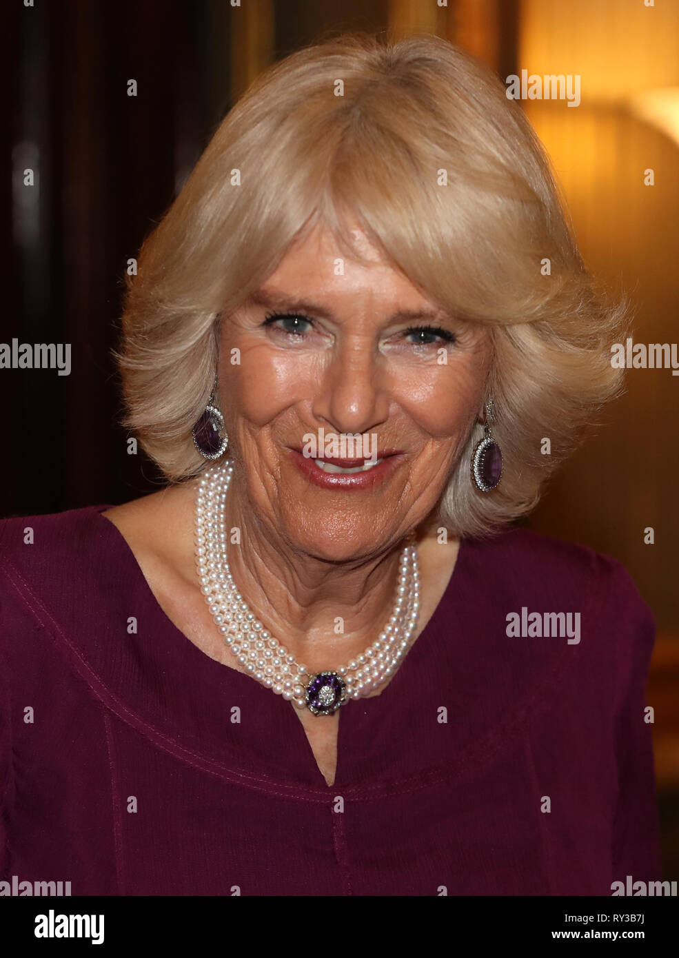 The Duchess of Cornwall at the annual Commonwealth Day reception at Marlborough House, the home of the Commonwealth Secretariat in London. Stock Photo