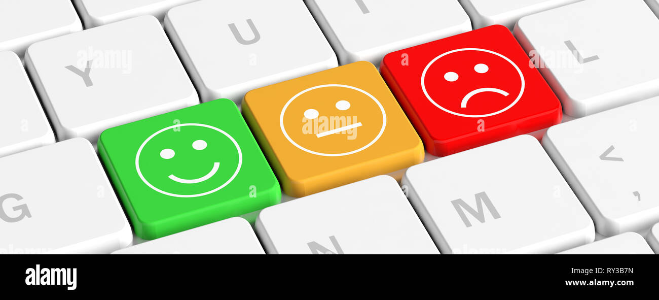 Rating Feedback Concept Key Buttons With Emoticons On A Computer Keyboard Banner 3d Illustration Stock Photo Alamy