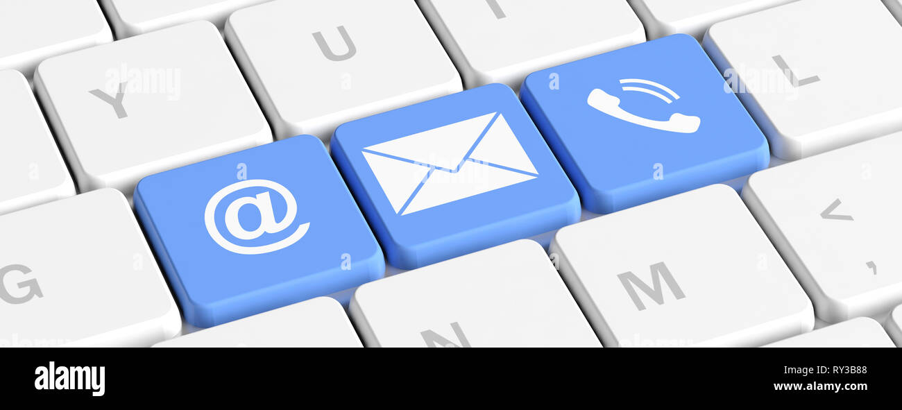 Contact Us Concept Blue Keys Buttons With Mail And Phone Signs On A Computer Keyboard Banner 3d Illustration Stock Photo Alamy