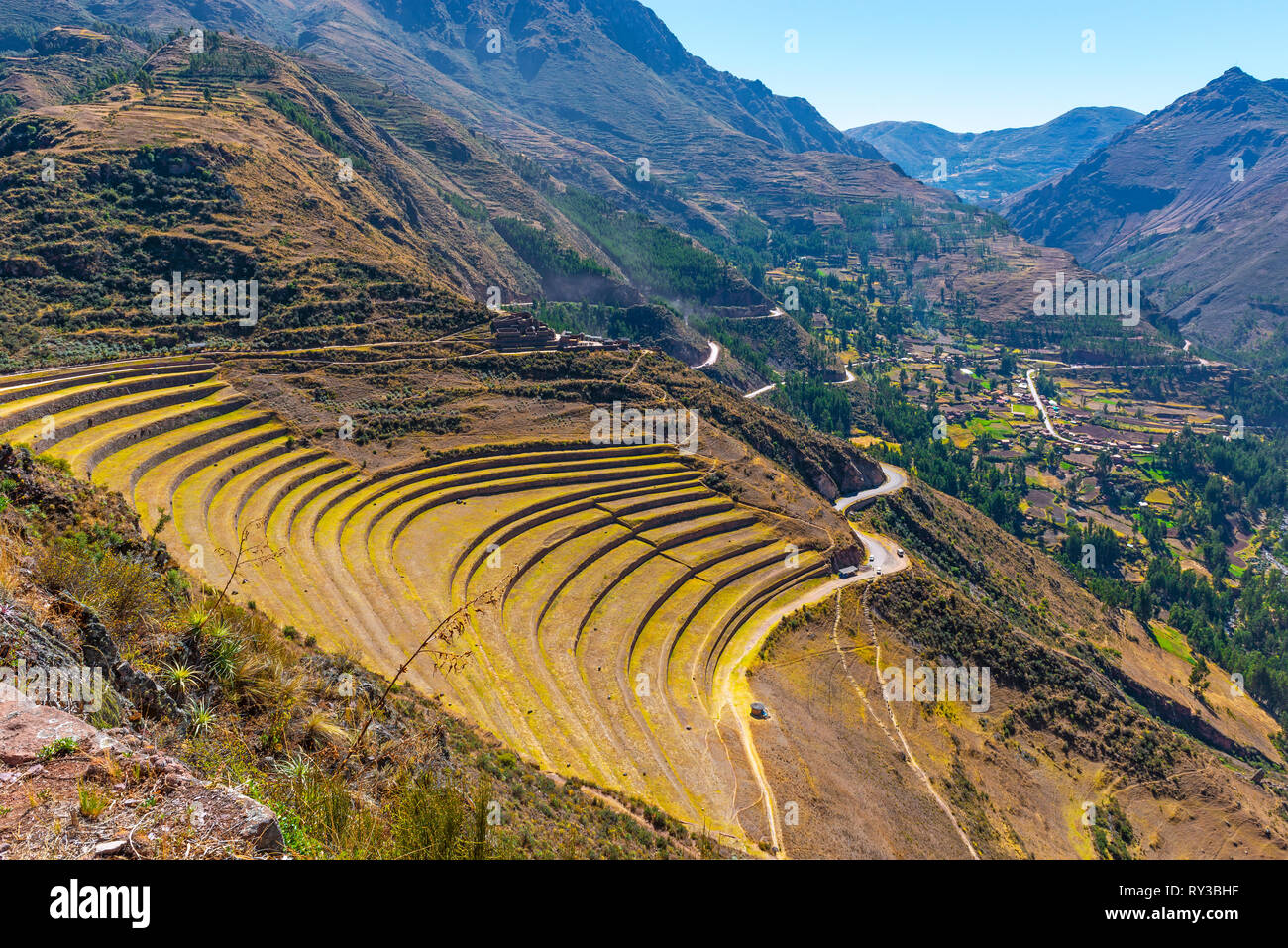The gigantic archaeological site of Pisac with famed for its agriculture terraced field in the Sacred Valley of the Inca near Cusco, Peru. - Stock Image