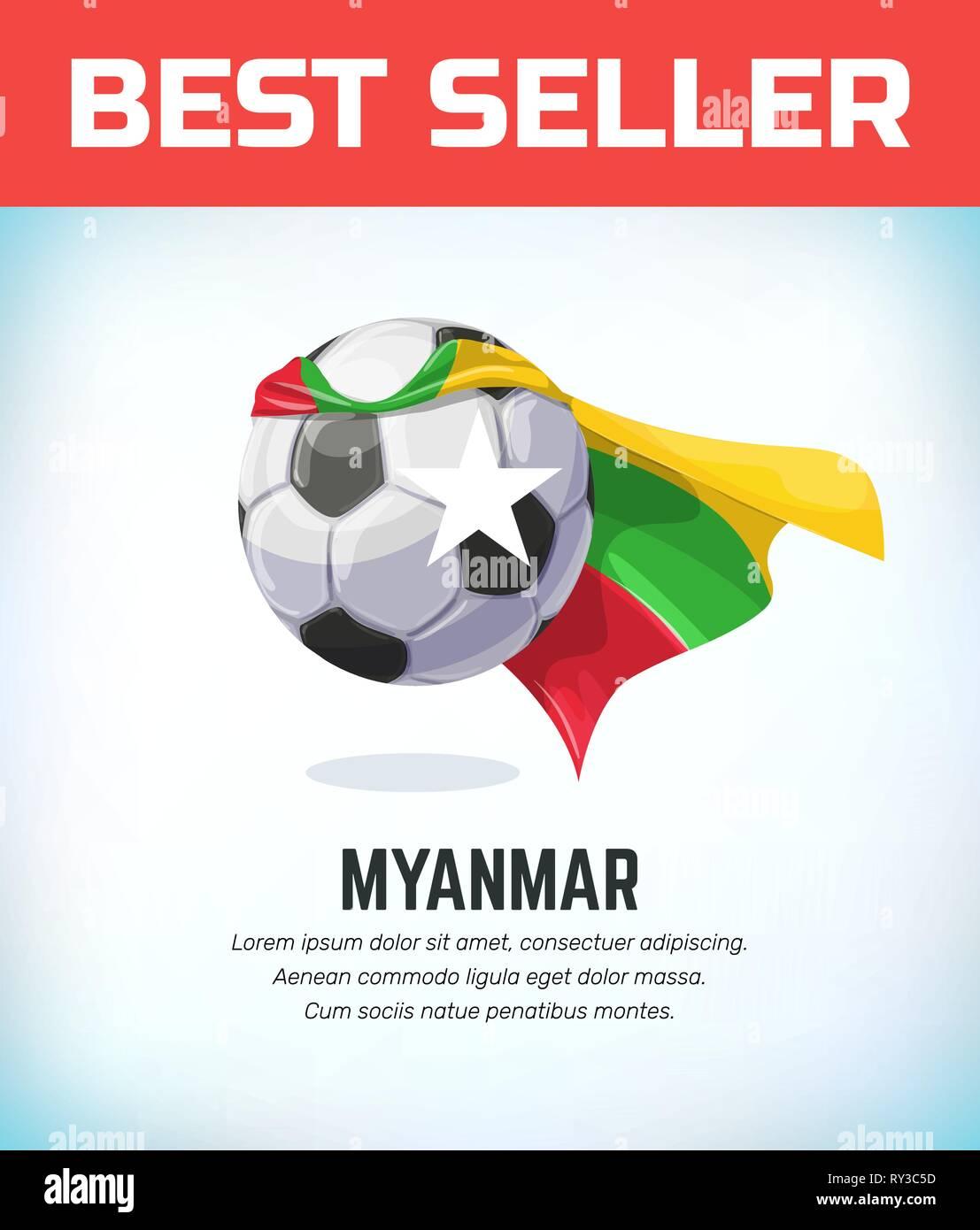 Myanmar football or soccer ball. Football national team. Vector illustration. - Stock Vector