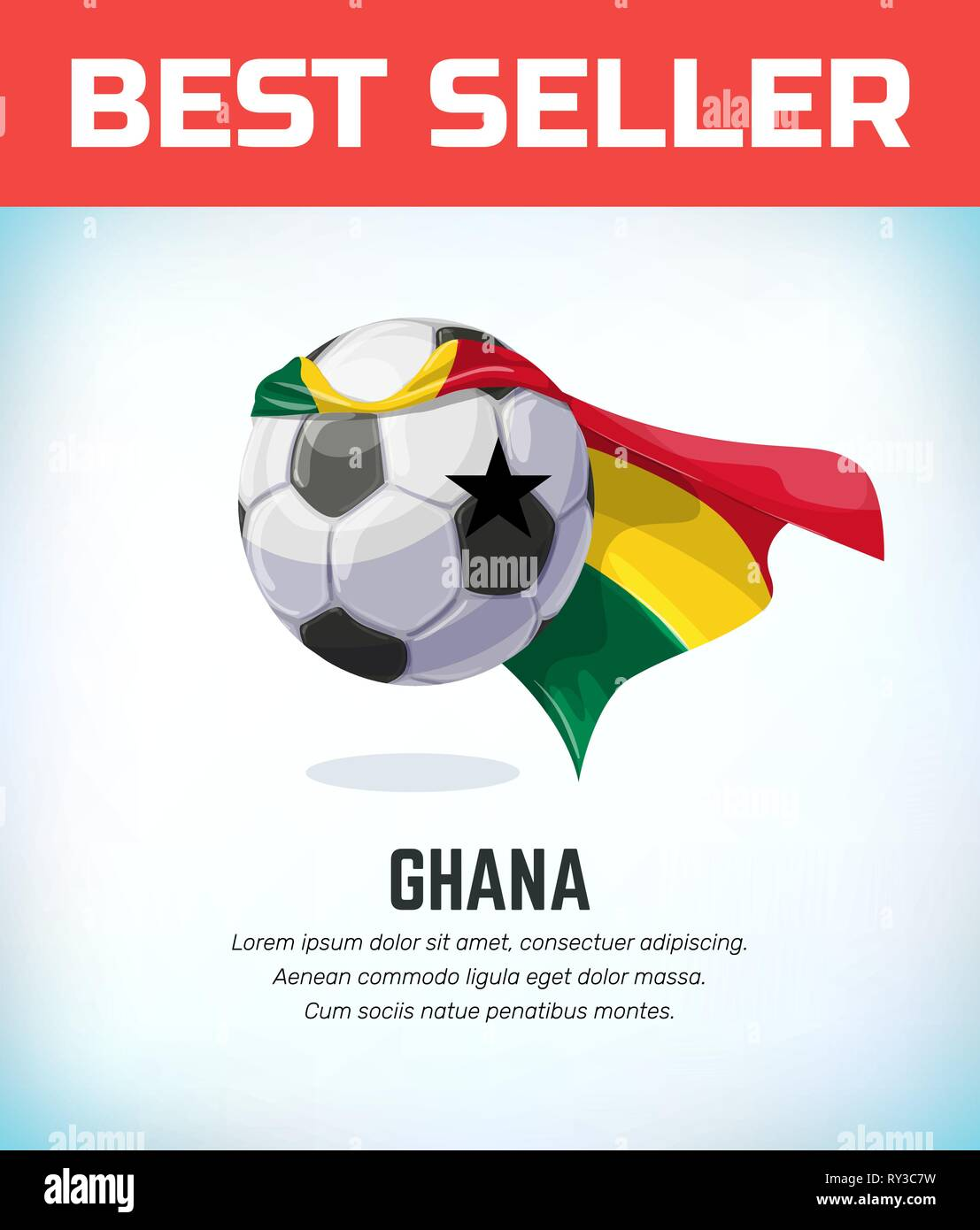 Ghana football or soccer ball. Football national team. Vector illustration. - Stock Vector