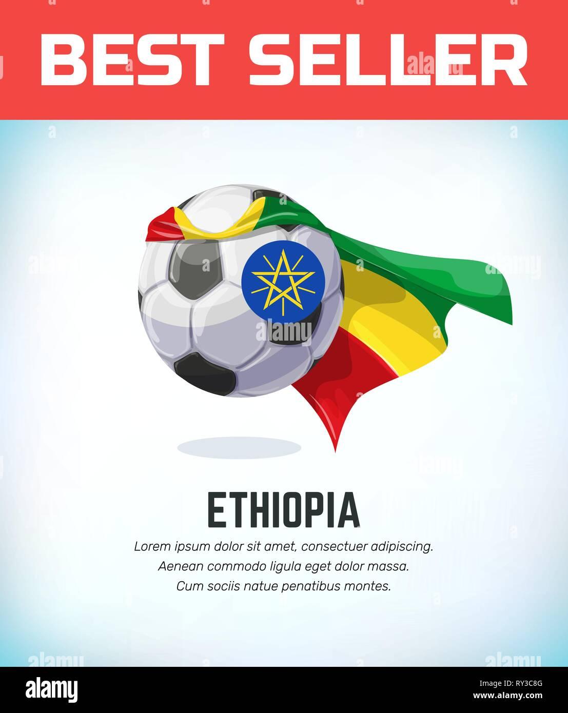 Ethiopia football or soccer ball. Football national team. Vector illustration. - Stock Vector