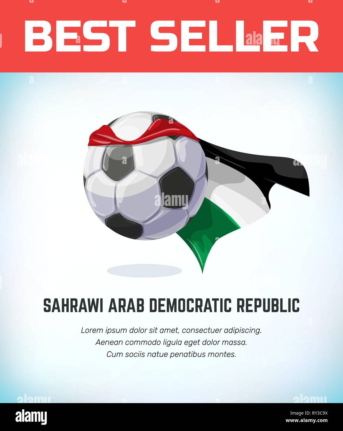 Sahrawi Arab Democratic Republic football or soccer ball. Football national team. Vector illustration. - Stock Image