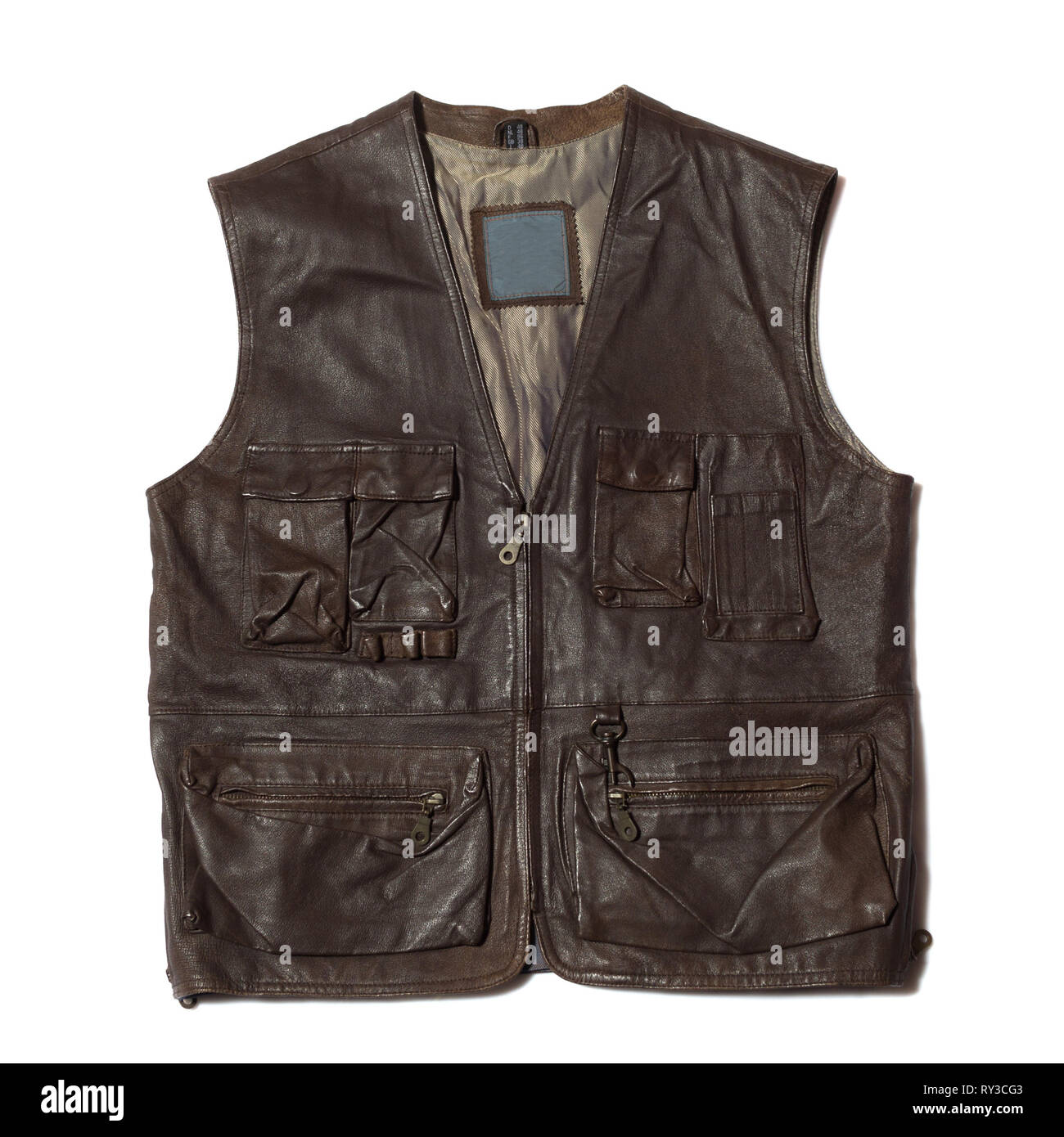 Brown leather vest  - Stock Image
