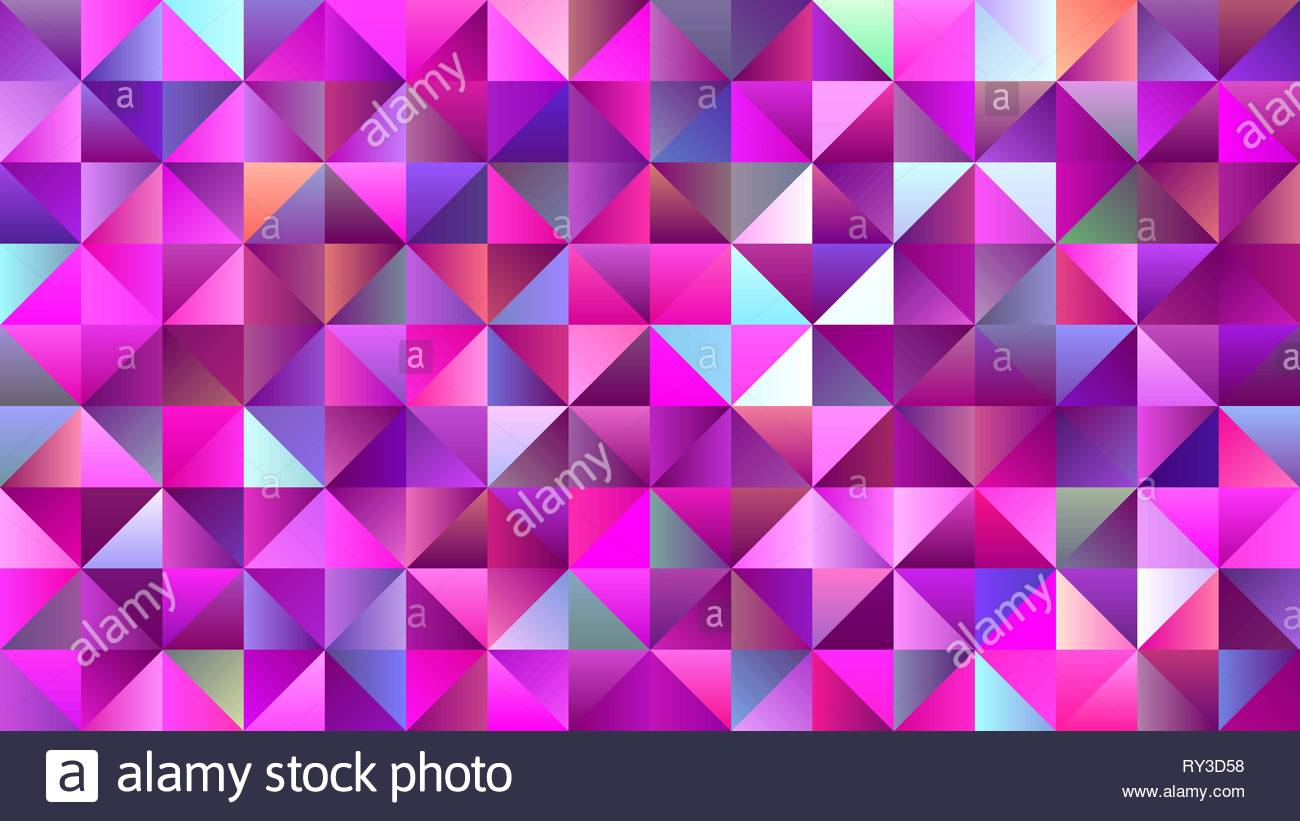 Brightly Magenta and Pink Mosaic Triangle Glitter - Stock Image