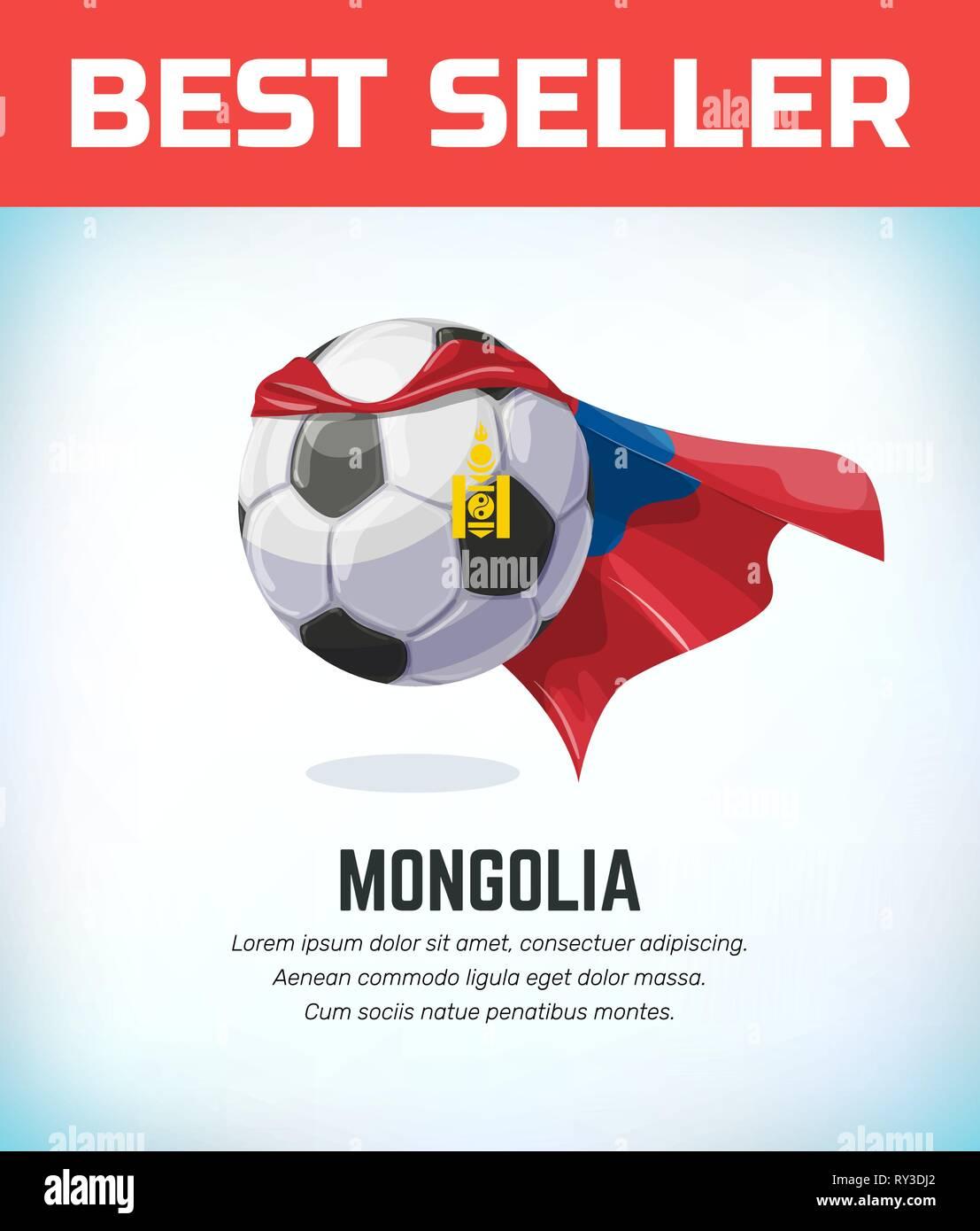 Mongolia football or soccer ball. Football national team. Vector illustration. - Stock Vector