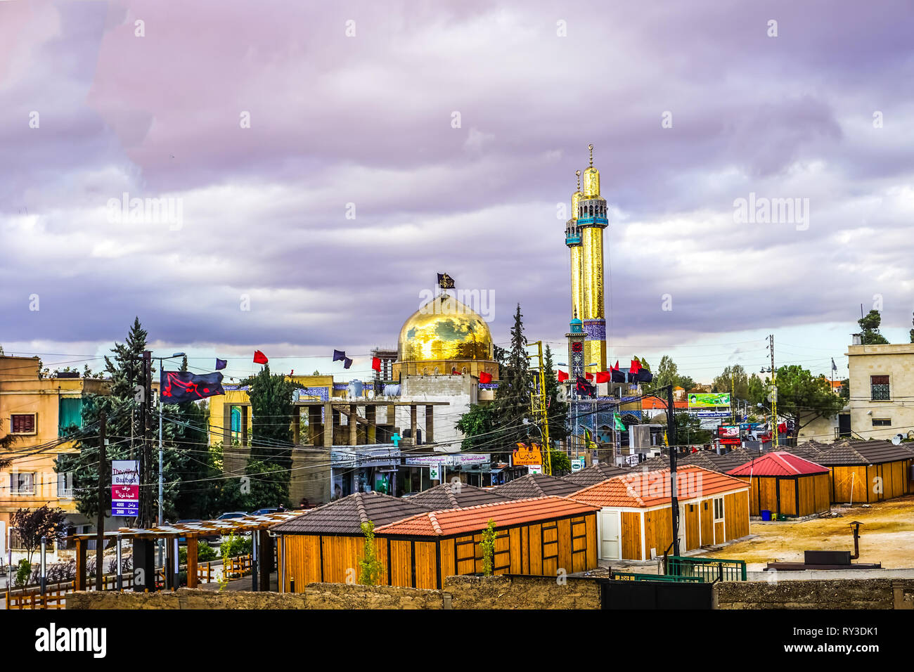 Baalbek Sayyida Khawla Shia Mosque Side View with Golden Minarets - Stock Image