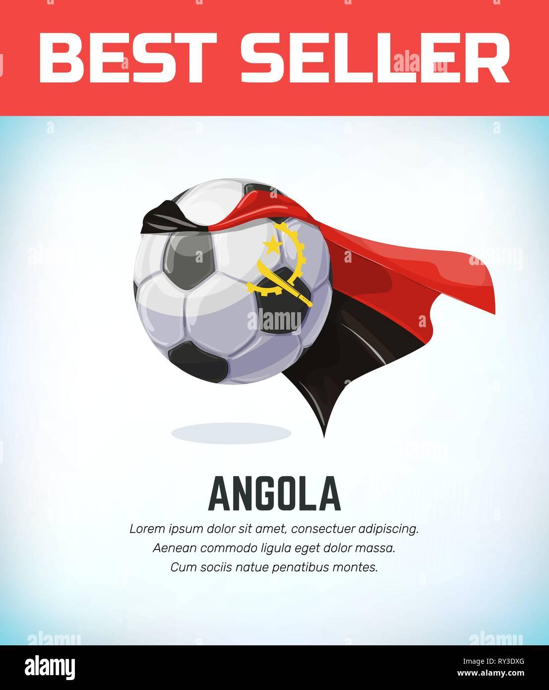 Angola football or soccer ball. Football national team. Vector illustration. - Stock Vector