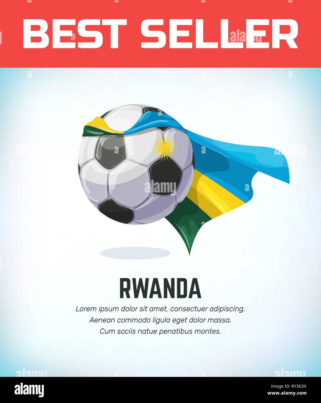Rwanda football or soccer ball. Football national team. Vector illustration. - Stock Vector
