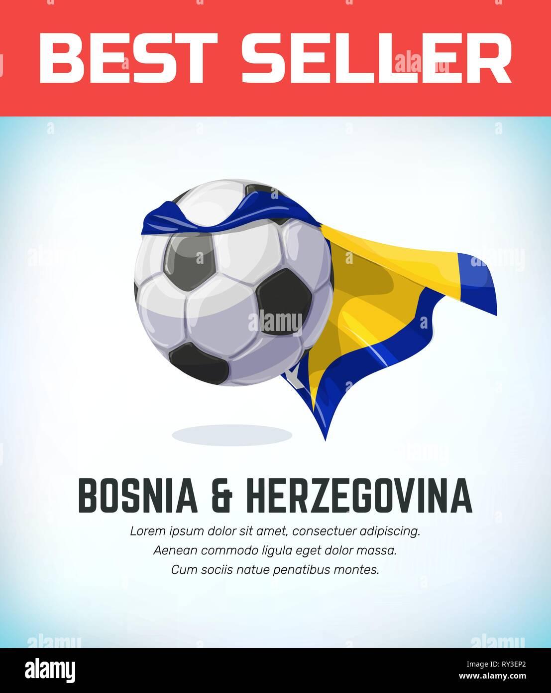 Bosnia and Herzegovina football or soccer ball. Football national team. Vector illustration. - Stock Vector
