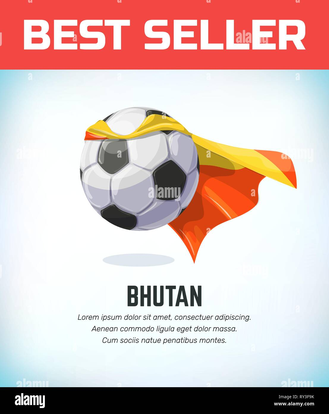 Bhutan football or soccer ball. Football national team. Vector illustration. - Stock Vector