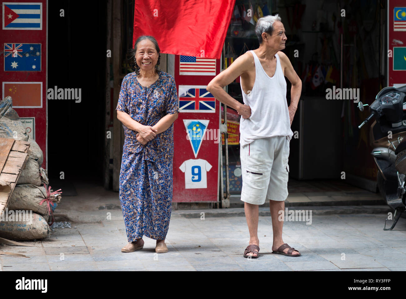 Happy Senior couple in a street of Hanoi. Asian old age, relationship and elderly concept. Hanoi Stock Photo