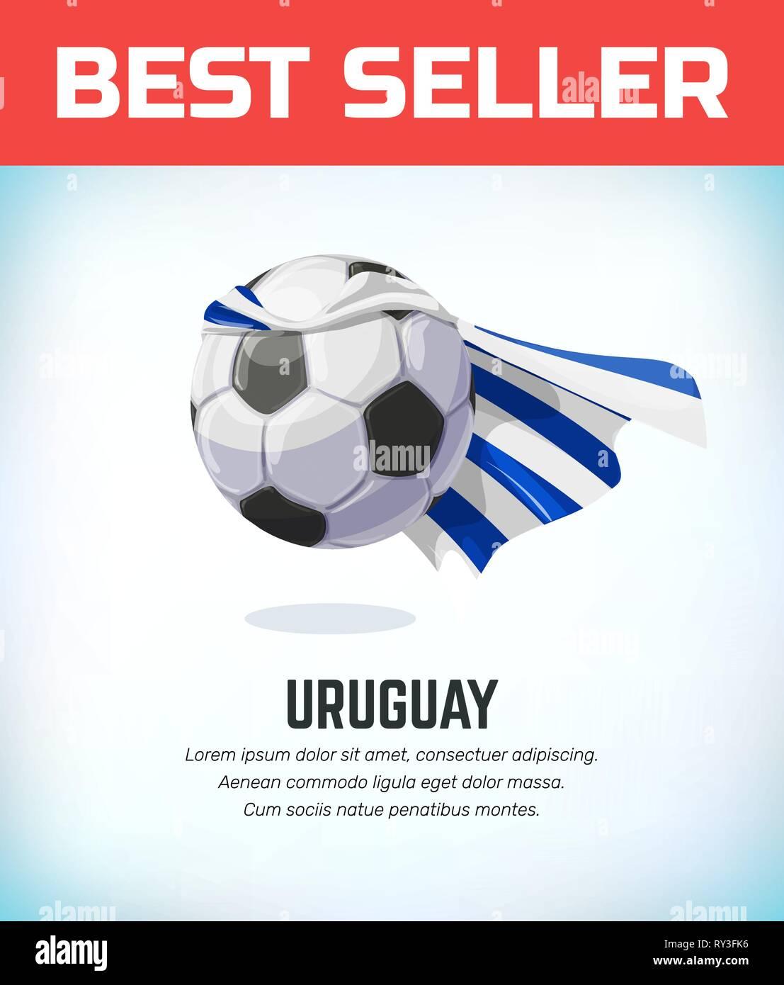 62d70850086 Uruguay football or soccer ball. Football national team. Vector illustration  - Stock Image