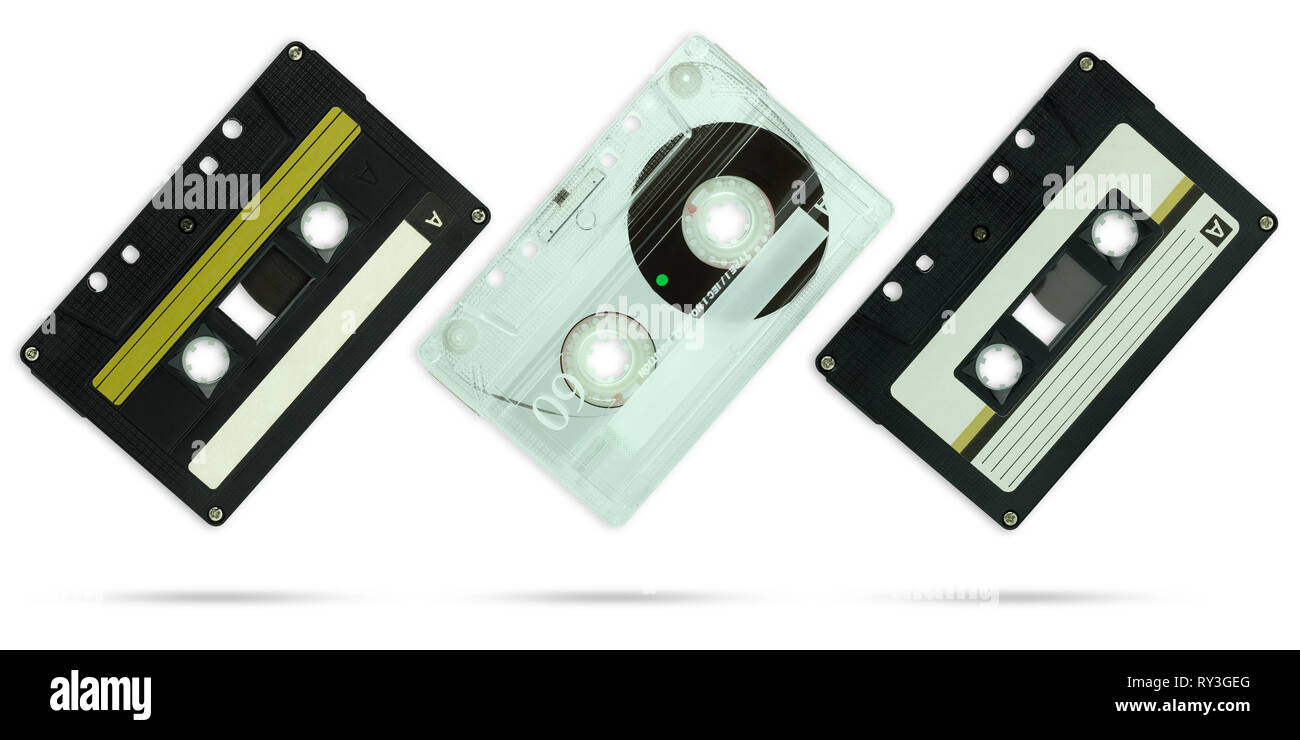 Set of Compact cassette on isolate white background with clipping path. - Stock Image
