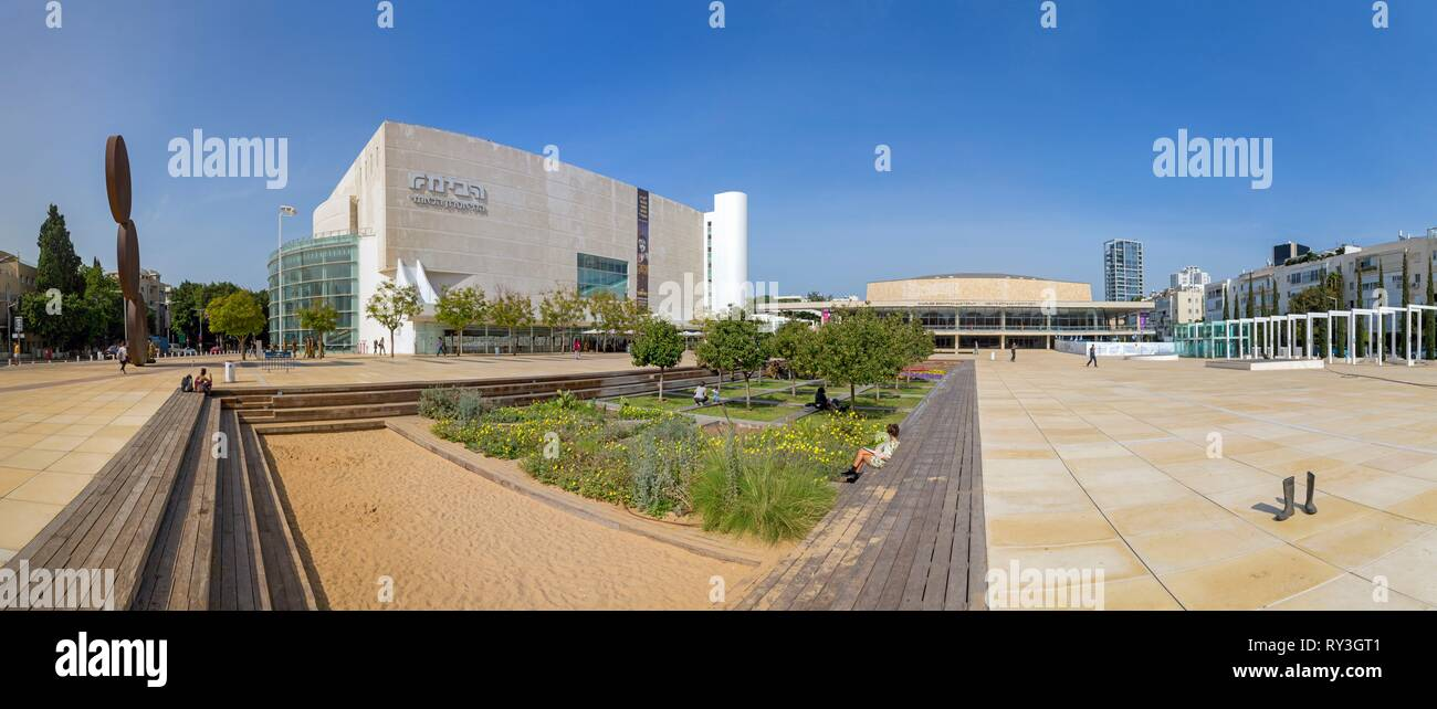 Israel, Tel Aviv-Jaffa, Tel-Aviv, the city center, Habima Square and the Habima Theater, the national theater of Israel, an expression of the spirit of the Jewish people with a particular focus on Hebrew culture and language Stock Photo