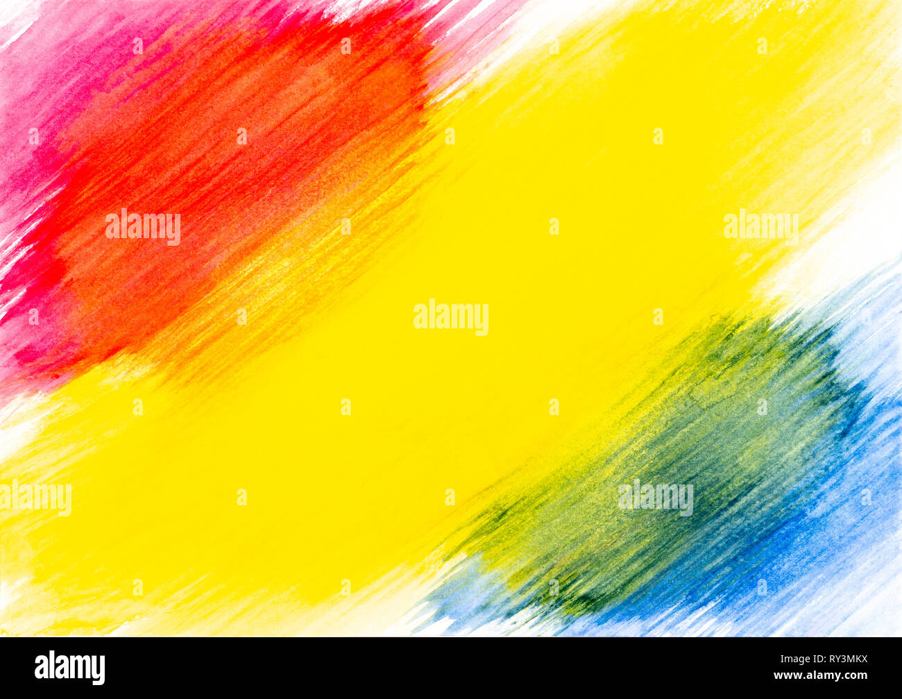 Abstract Red Yellow And Blue Watercolor Painted On White