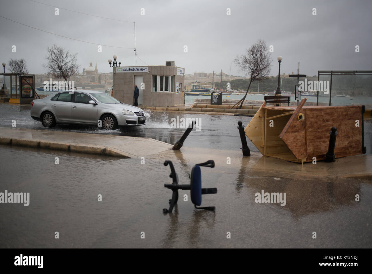 Wild stormy weather and flooding, in Sliema, Malta, 24 February 2019. - Stock Image