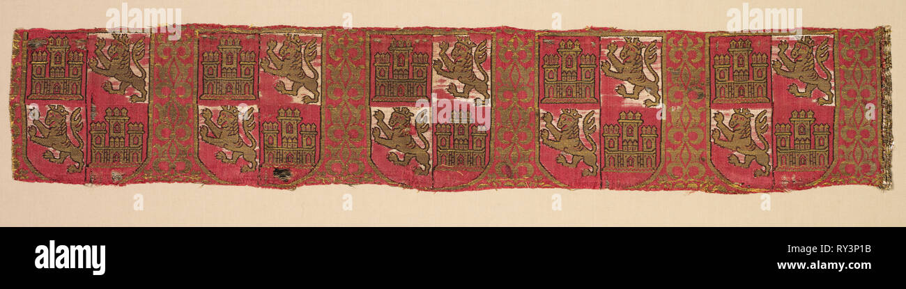 Lampas with heraldry of Castile and León, from a royal Christian robe, 1200-1325. Spain, Granada, Nasrid period. Lampas: silk and gold thread; overall: 10.2 x 55.3 cm (4 x 21 3/4 in - Stock Image