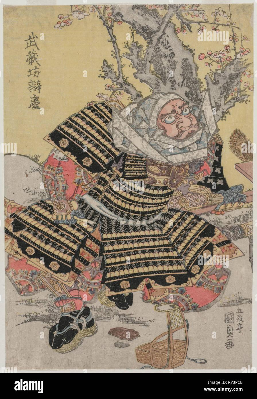 Musashibo Benkei Kneeling by a Plum Tree, c. mid or late 1810s. Gototei Kunisada (Japanese, 1786-1864). Color woodblock print; sheet: 37.5 x 25.4 cm (14 3/4 x 10 in - Stock Image