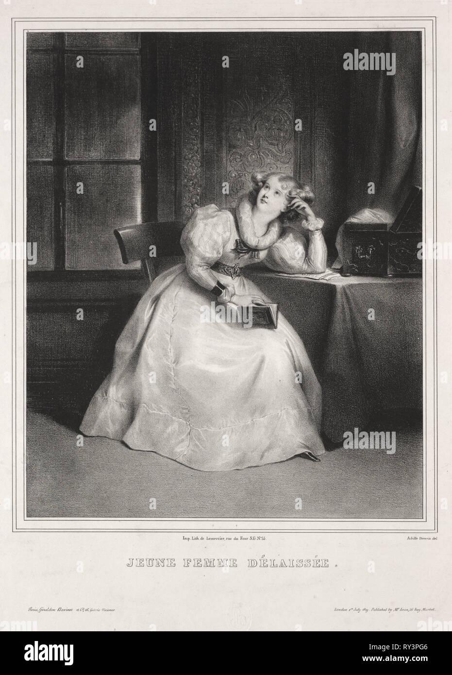 Reverie. Achille Devéria (French, 1800-1857). Lithograph - Stock Image