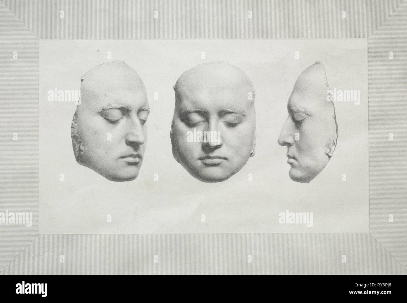 Death Mask of Sir Thomas Lawrence. Richard James Lane (British, 1800-1872). Lithograph - Stock Image