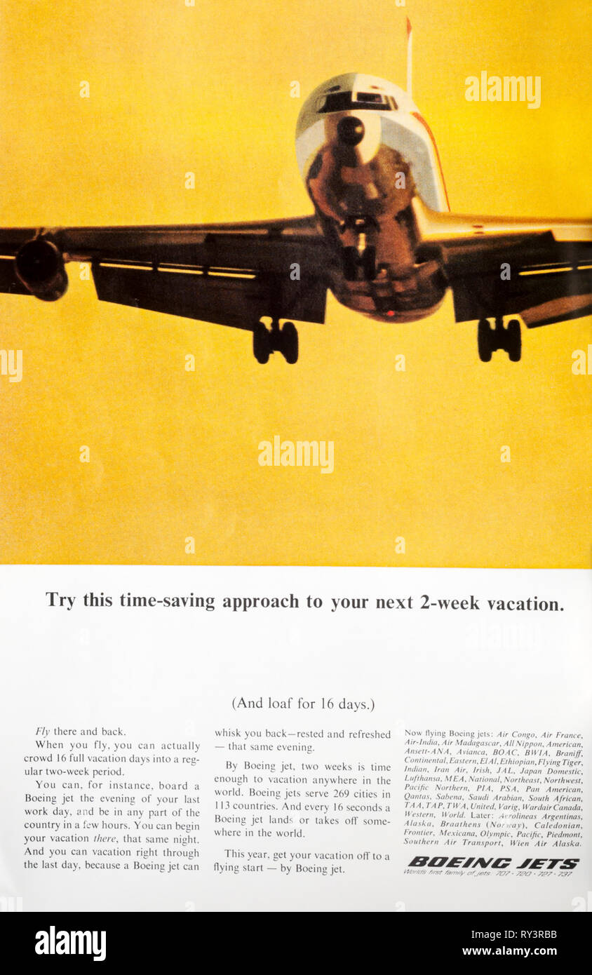 A 1966 magazine advert advertising Boeing jets. - Stock Image