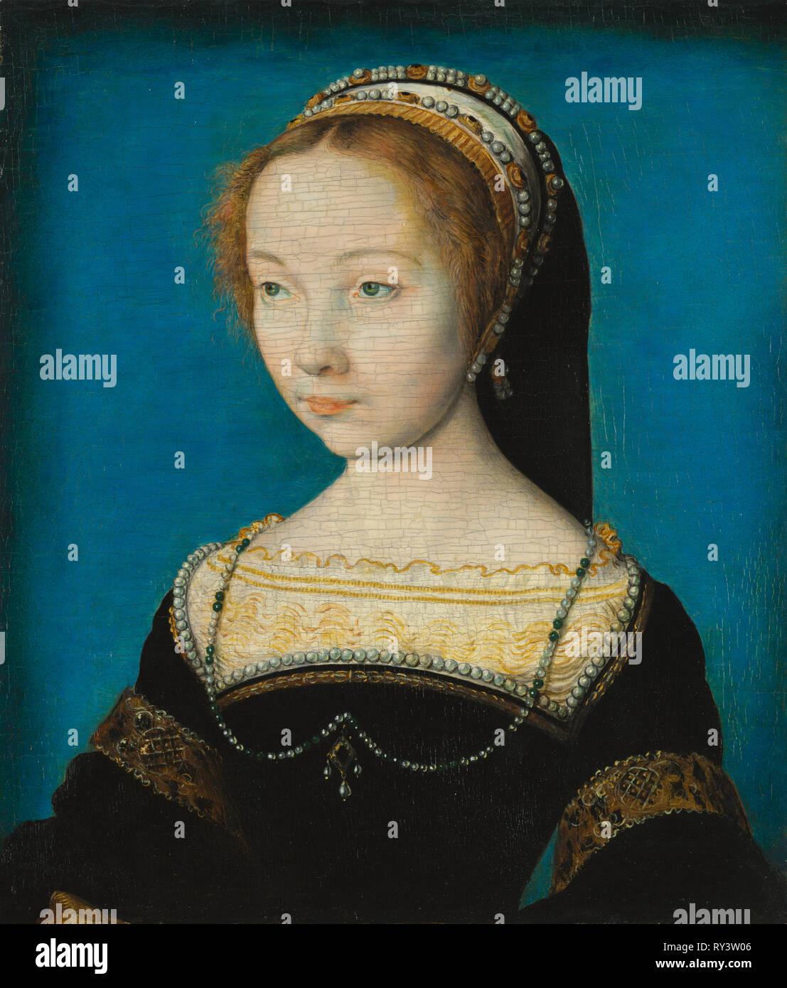 Portrait of a Woman, c. 1540. Corneille de Lyon (Netherlandish, 1500-10-1574). Oil on wood; framed: 39 x 26 x 5 cm (15 3/8 x 10 1/4 x 1 15/16 in.); unframed: 16.5 x 14.8 cm (6 1/2 x 5 13/16 in Stock Photo