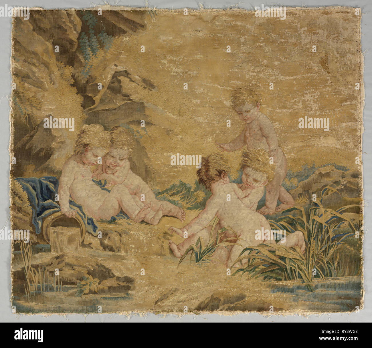 Children Playing: The Bath, 1700s. Workshop of Charron (French), after a design by François Boucher (French, 1703-1770). Tapestry weave: silk and wool; overall: 101 x 114.3 cm (39 3/4 x 45 in - Stock Image