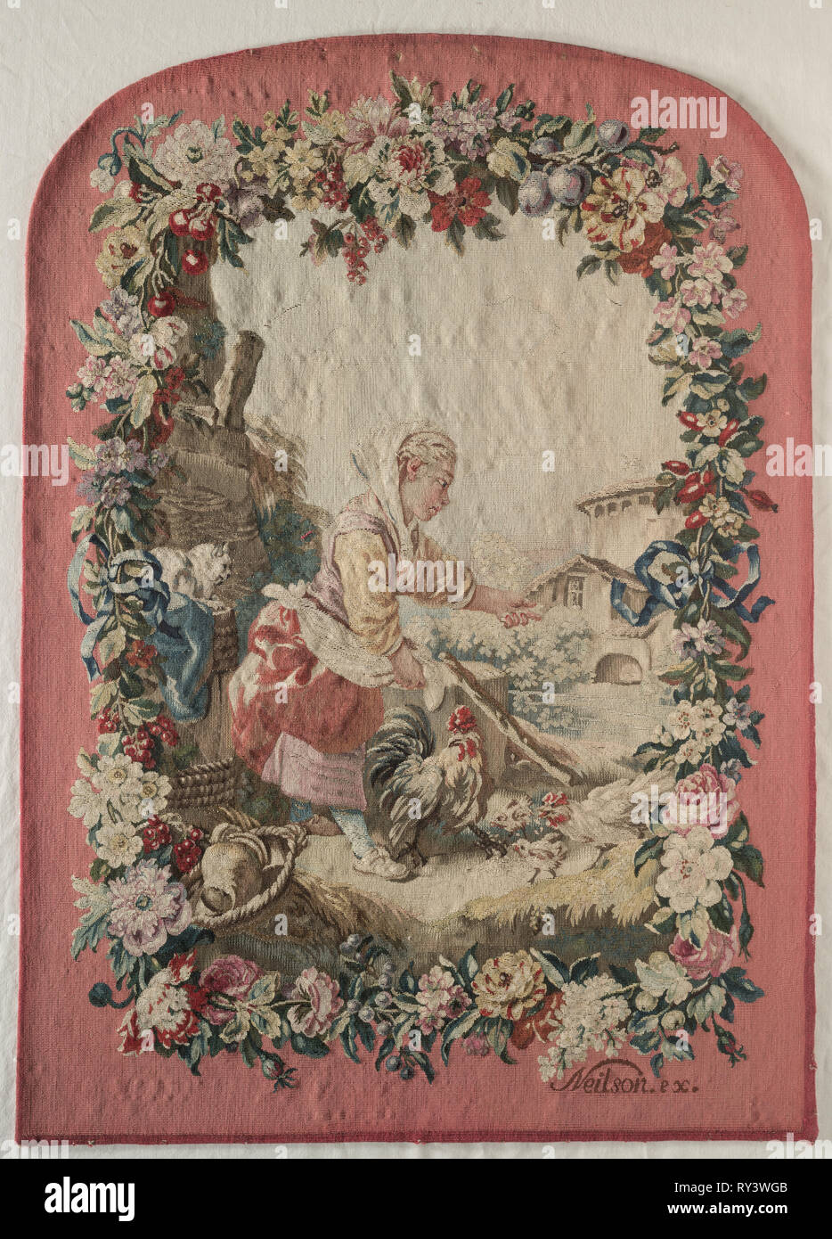 Fire Screen Panel, c. 1775. Jacques Neilson, Gobelins (French), after a design by Jean-Baptiste Marie Hüet (French, 1745-1811), after a design by Maurice Jacques (French, 1712-1784). Tapestry weave: silk and wool; overall: 79.1 x 56.2 cm (31 1/8 x 22 1/8 in - Stock Image