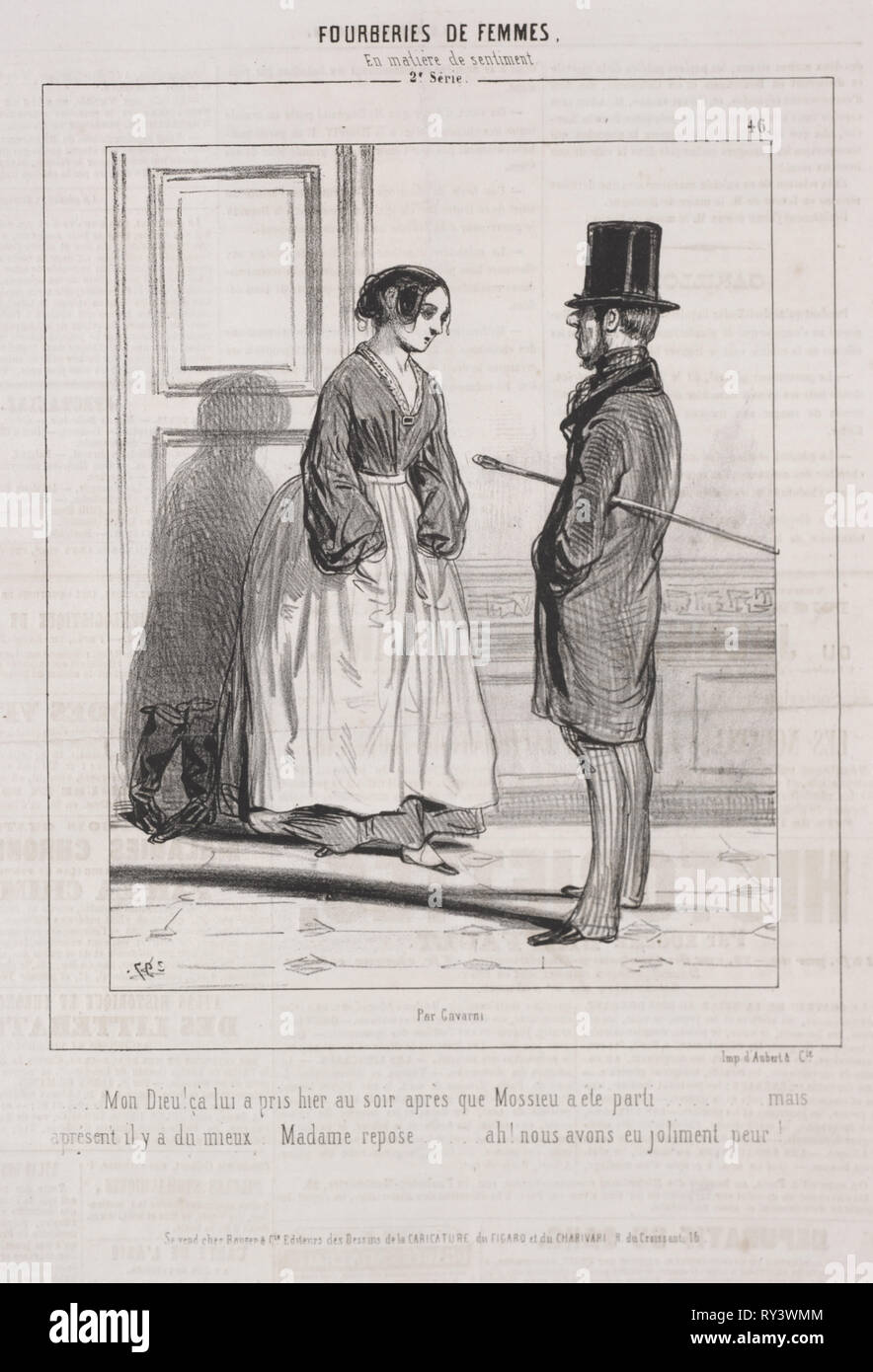 Fourberies de Femmes:  En matière de sentiment, 1842. Paul Gavarni (French, 1804-1866). Lithograph - Stock Image