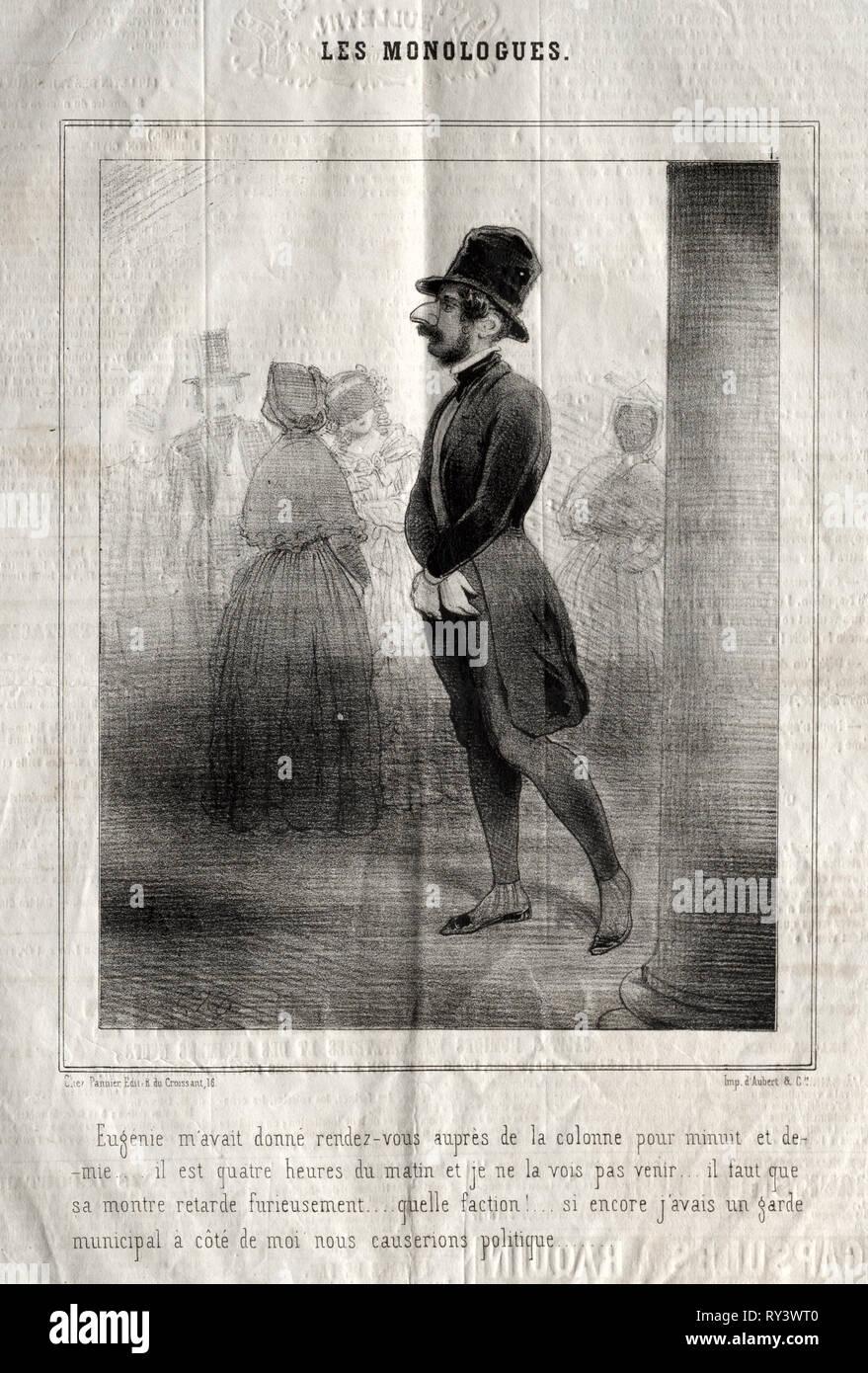 Les Monologues:  Eugénie m'avait donné rendez-vous auprès de la colonne pour minuit et demie.... Charles Joseph Traviès de Villers (French, 1804-1859). Lithograph Stock Photo