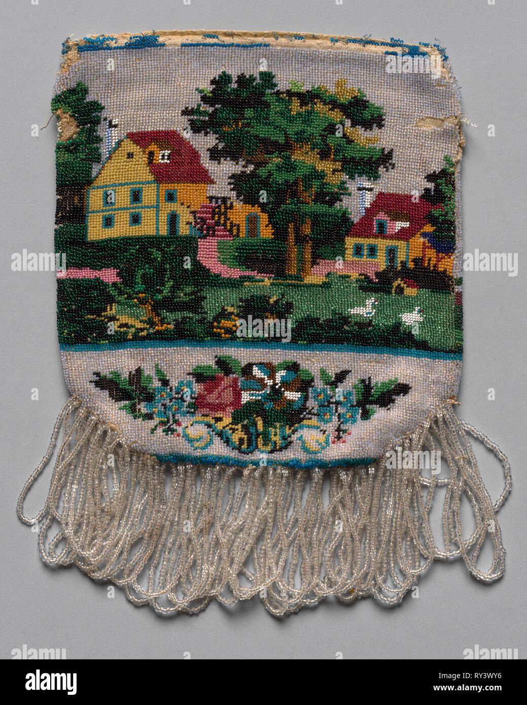 Beaded Bag (landscape scene), 19th century. America, 19th century. Glass beads stitched individually to plain weave background; overall: 22.5 x 16.5 cm (8 7/8 x 6 1/2 in - Stock Image