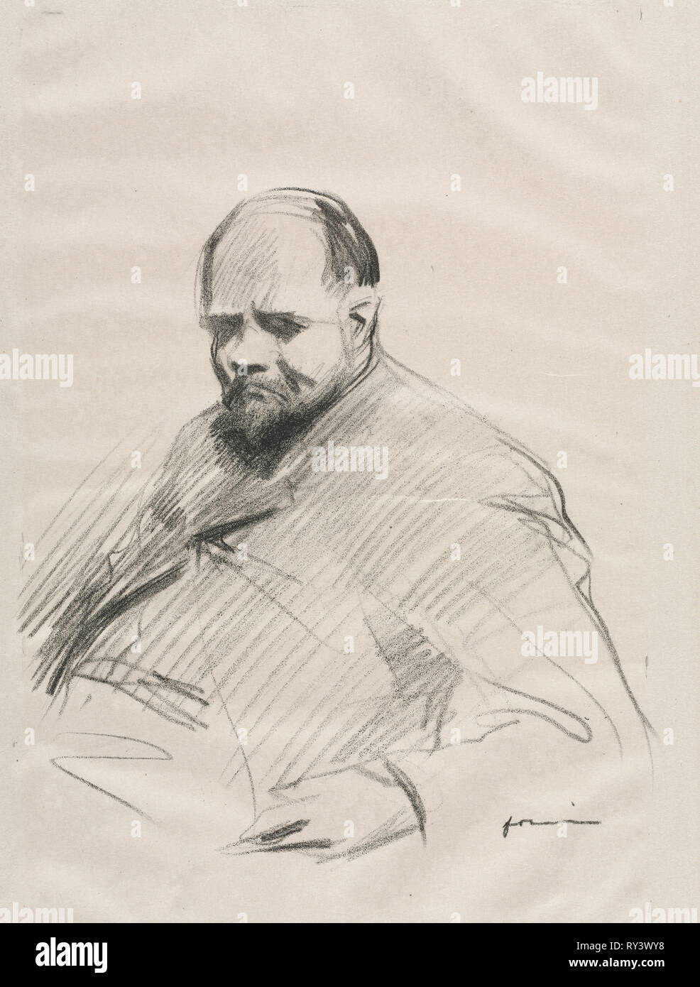 Ambroise Vollard. Jean Louis Forain (French, 1852-1931). Lithograph - Stock Image