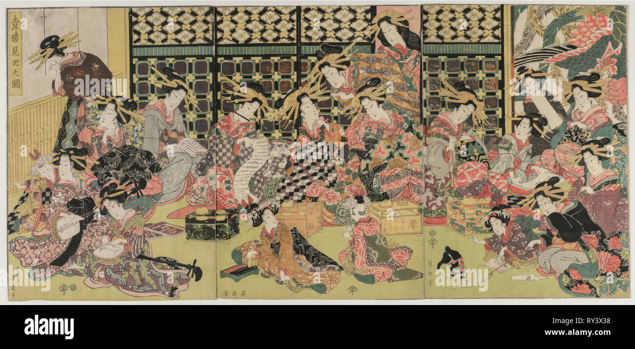 A Picture of the Viewing in the Pleasure Quarters, 1810s. Kikugawa Eizan (Japanese, 1787-1867). Color woodblock print; overall: 37.2 x 26.4 cm (14 5/8 x 10 3/8 in - Stock Image