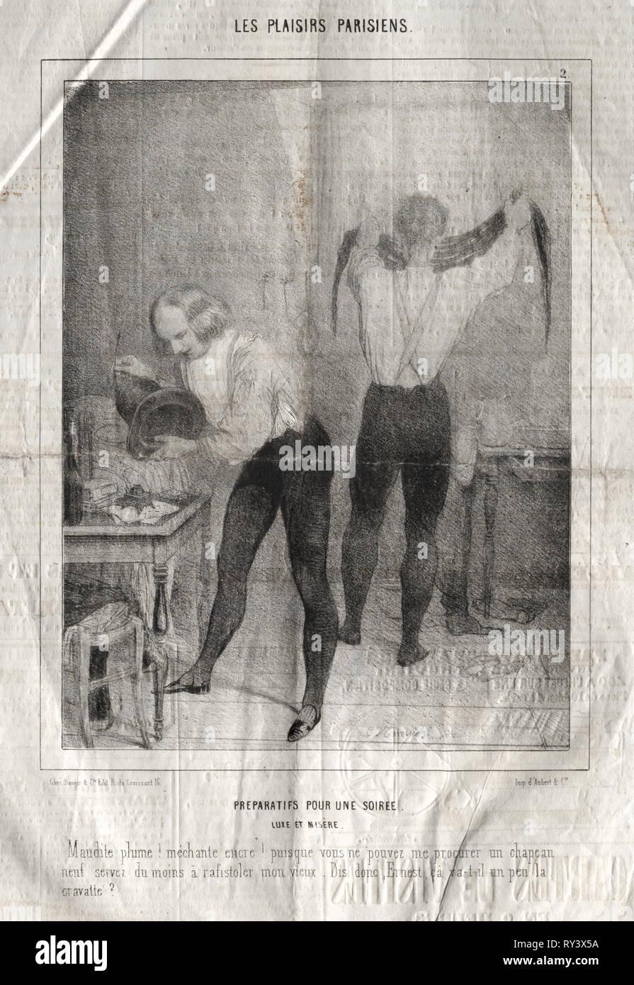 Les Plaisirs Parisiens:  Preparatifs pour une soiree.  Luxe et misère.  Maudite plume!  mèchante encre!.... Charles Joseph Traviès de Villers (French, 1804-1859). Lithograph - Stock Image
