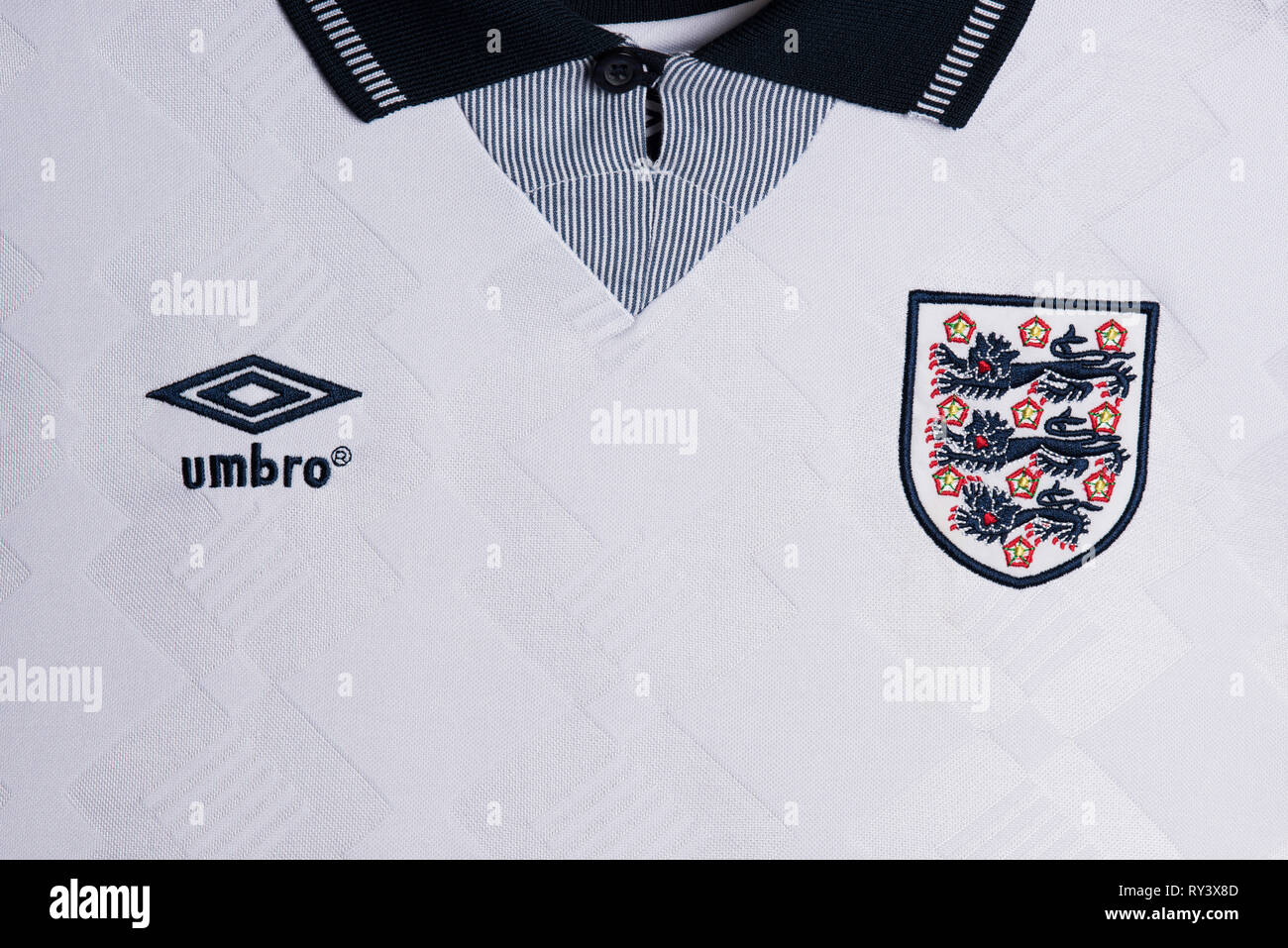 best service 948dc a751b Close up of England National Football team kit for Italia 90 ...