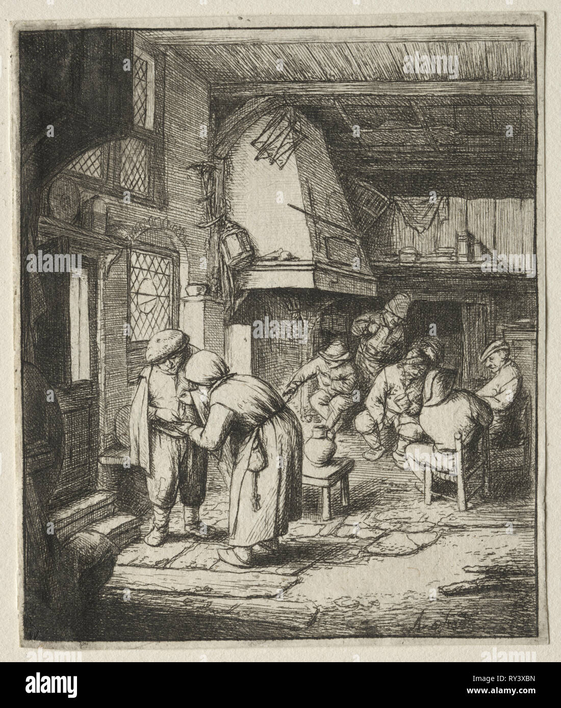 The Peasant settling his debt. Adriaen van Ostade (Dutch, 1610-1684). Etching - Stock Image