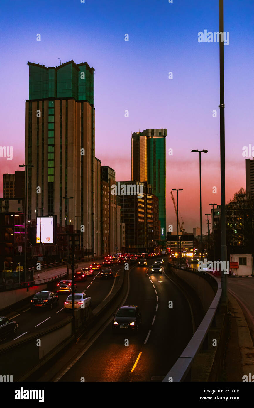 Out of Focus sunset of Birmingham. - Stock Image