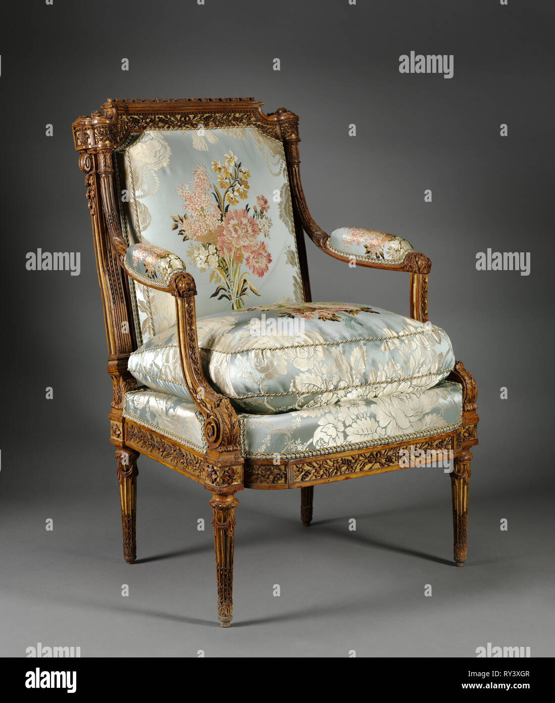Armchair (Fauteuil), c. 1785. Nicolas-Denis Delaisement (French). Boxwood ; overall: 98.2 x 69.9 x 68.3 cm (38 11/16 x 27 1/2 x 26 7/8 in Stock Photo
