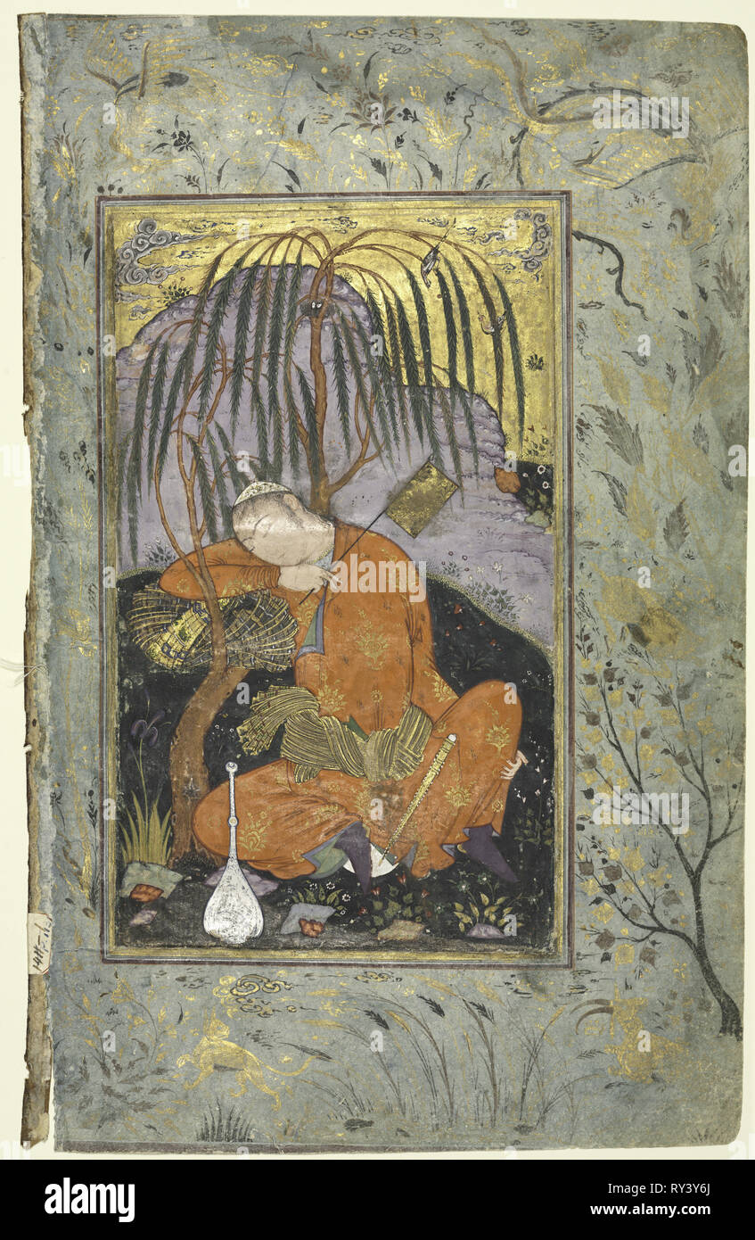 Sleeping Youth (verso), Illustration from a Single Page Manuscript, early 1600s. Style of Riza-yi Abbasi (Iranian). Opaque watercolor and gold on paper; image: 21 x 12.4 cm (8 1/4 x 4 7/8 in.); overall: 31.6 x 20.4 cm (12 7/16 x 8 1/16 in Stock Photo